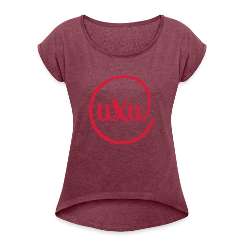 UXU logo round - Women's T-Shirt with rolled up sleeves