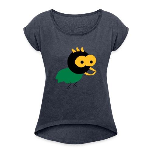 lintu-eps - Naisten T-paita, jossa rullatut hihat