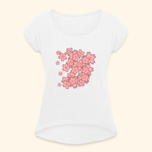 Rosa Blümchen Muster - Frauen T-Shirt mit gerollten Ärmeln