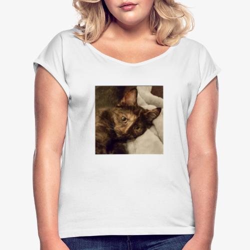 Pus - T-skjorte med rulleermer for kvinner