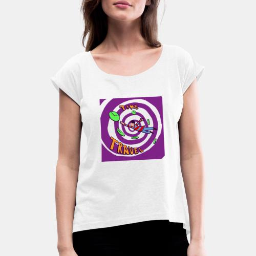 Time Curve Line - Camiseta con manga enrollada mujer