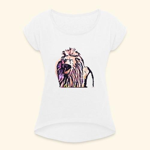 leon geometrico - Camiseta con manga enrollada mujer