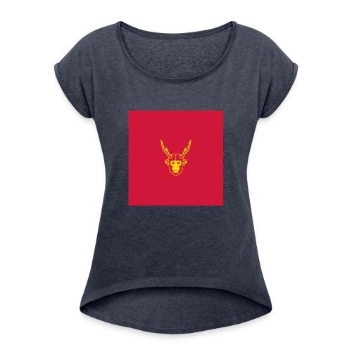 scimmiacervo sfondo rosso - Maglietta da donna con risvolti