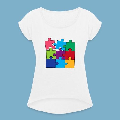 Puzzle Fun Motive - Frauen T-Shirt mit gerollten Ärmeln