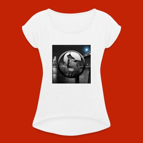 logodeksel - T-skjorte med rulleermer for kvinner