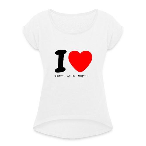 Bluzka damska - Koszulka damska z lekko podwiniętymi rękawami