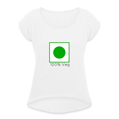 100veg-png - T-shirt med upprullade ärmar dam