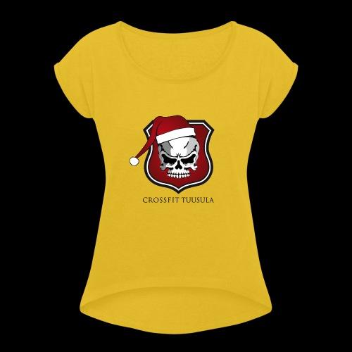 CrossFit Tuusula Xmas - Naisten T-paita, jossa rullatut hihat
