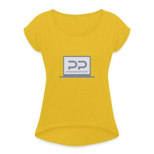 muismat met logo - Vrouwen T-shirt met opgerolde mouwen