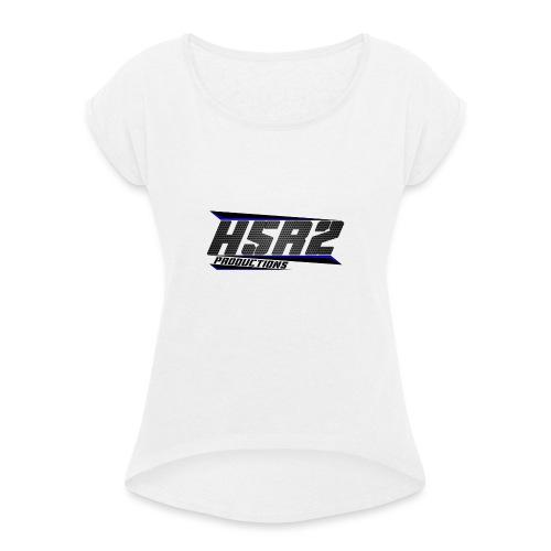 T-shirt met logo - Vrouwen T-shirt met opgerolde mouwen