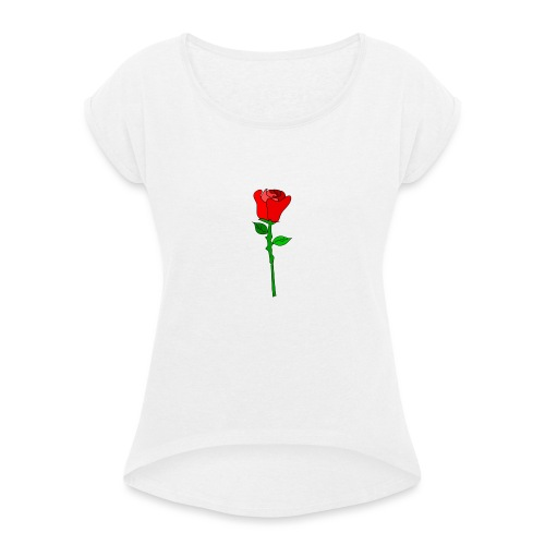 ROSE - Frauen T-Shirt mit gerollten Ärmeln