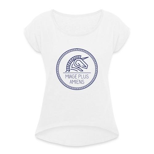 logo_2017-bleu - T-shirt à manches retroussées Femme