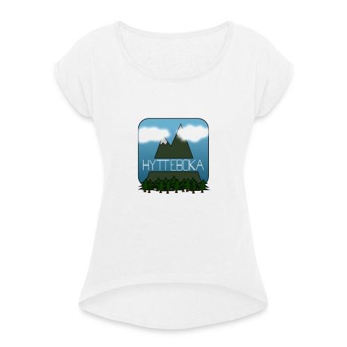 Hytteboka - T-skjorte med rulleermer for kvinner