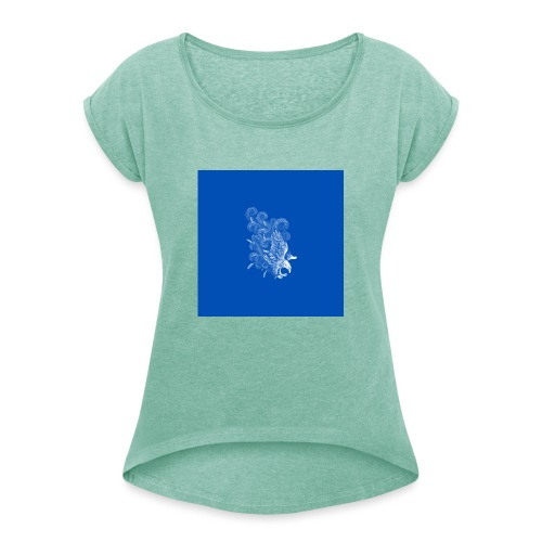 Windy Wings Blue - Women's T-Shirt with rolled up sleeves