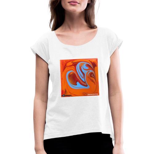 TIAN GREEN Mosaik DK005 - Herzenswelten - Frauen T-Shirt mit gerollten Ärmeln