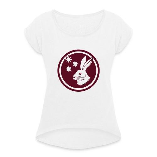 Reilinger Hase im Kreis - Frauen T-Shirt mit gerollten Ärmeln
