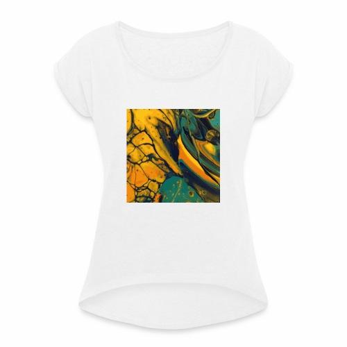 Yellow cells - Frauen T-Shirt mit gerollten Ärmeln