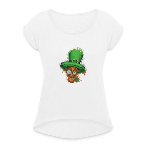 Leprechaun with shamrock - Women's T-Shirt with rolled up sleeves