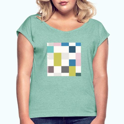Abstract art squares - Women's T-Shirt with rolled up sleeves