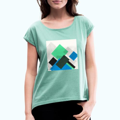 Abstract rectangles pastel - Women's T-Shirt with rolled up sleeves