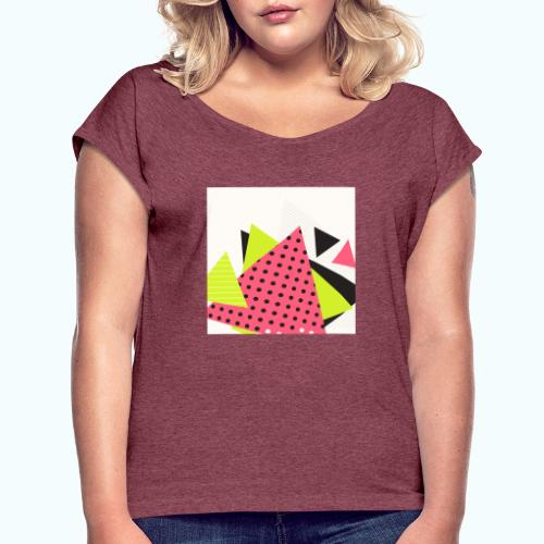 Neon geometry shapes - Women's T-Shirt with rolled up sleeves