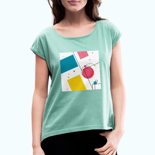 Colors shapes abstract - Women's T-Shirt with rolled up sleeves