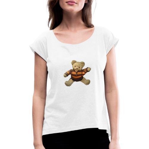 Teddybär - orange braun - Retro Vintage - Bär - Frauen T-Shirt mit gerollten Ärmeln