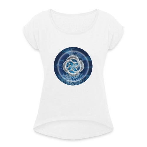 Blue Fish Circle - Women's T-Shirt with rolled up sleeves