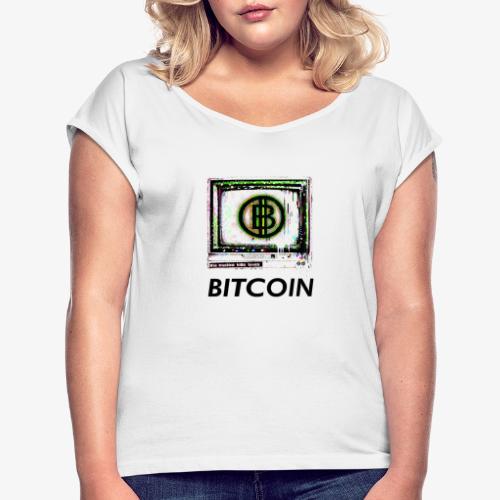 bitcoin Glitch - Frauen T-Shirt mit gerollten Ärmeln