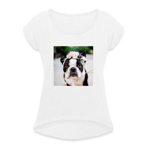 Blumenhund - Frauen T-Shirt mit gerollten Ärmeln