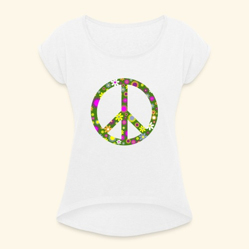 Peace Zeichen mit Blümchen - Frauen T-Shirt mit gerollten Ärmeln