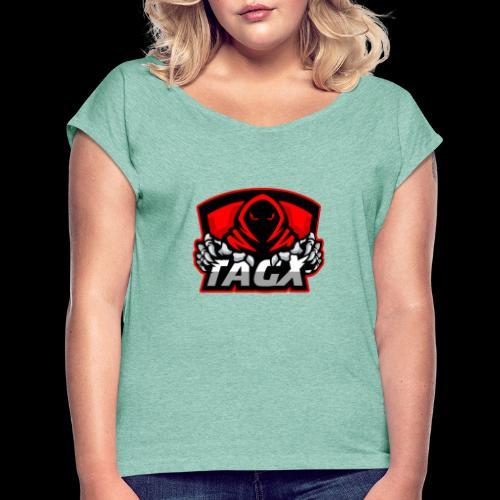 TagX Logo with red borders - Naisten T-paita, jossa rullatut hihat