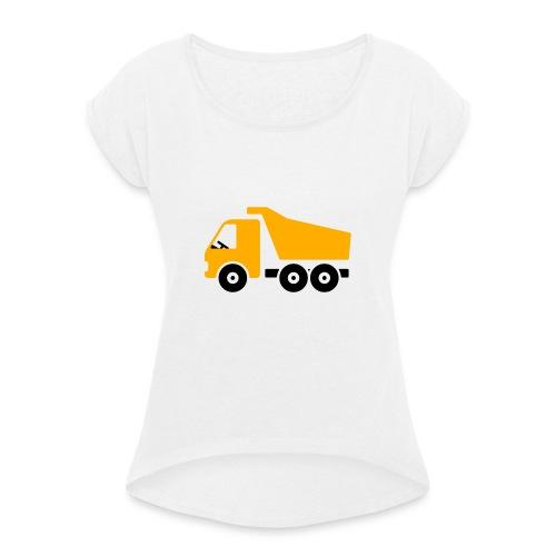 Baustellenfahrzeug Comic - Frauen T-Shirt mit gerollten Ärmeln