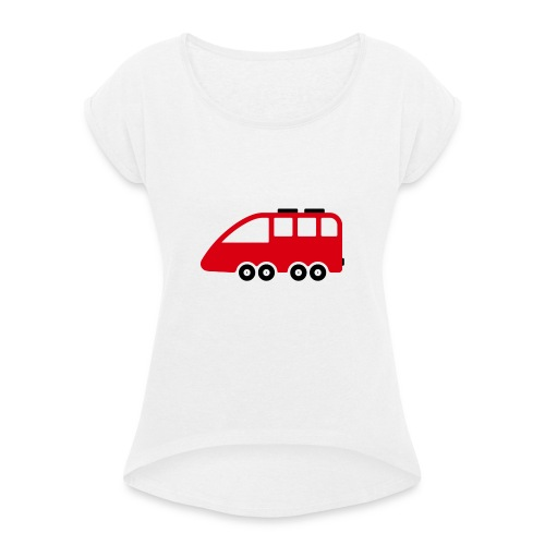 Bus Comic - Frauen T-Shirt mit gerollten Ärmeln