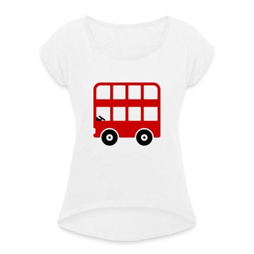 Doppeldecker Bus Comic - Frauen T-Shirt mit gerollten Ärmeln