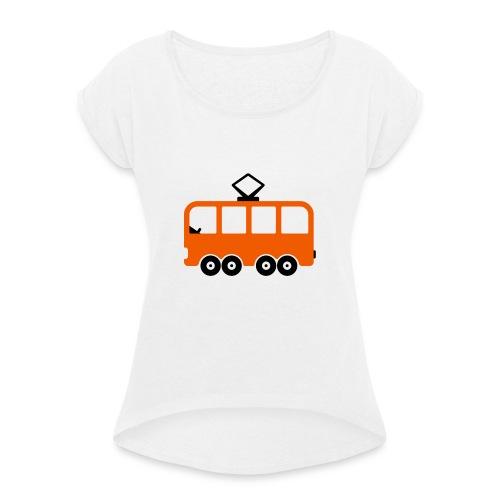 Bahn Comic - Frauen T-Shirt mit gerollten Ärmeln