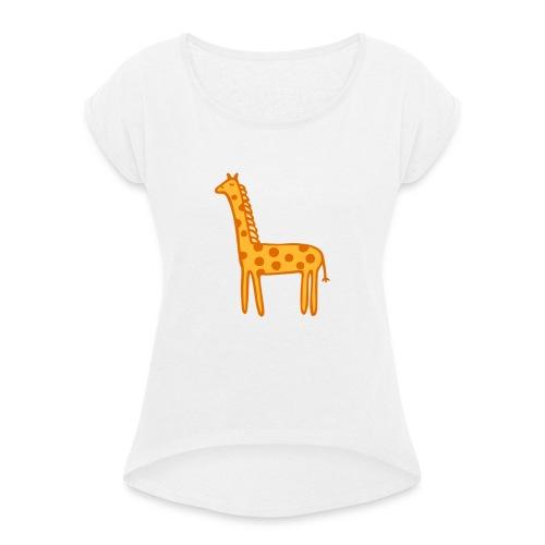 Kinder Comic - Giraffe - Frauen T-Shirt mit gerollten Ärmeln
