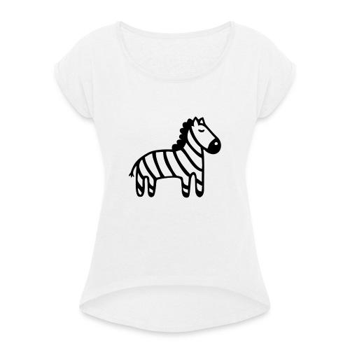 Kinder Comic - Zebra - Frauen T-Shirt mit gerollten Ärmeln