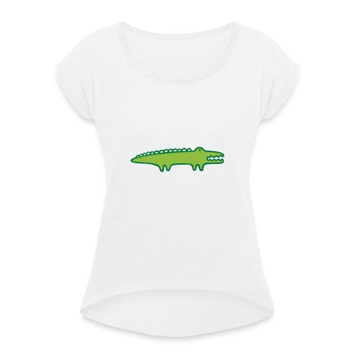 Kinder Comic - Krokodil - Frauen T-Shirt mit gerollten Ärmeln