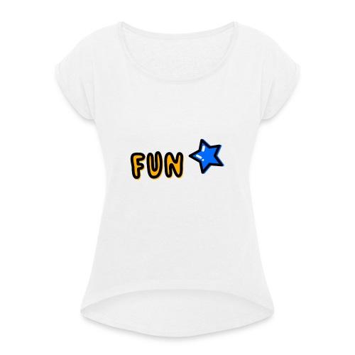 Fun Sign - Frauen T-Shirt mit gerollten Ärmeln