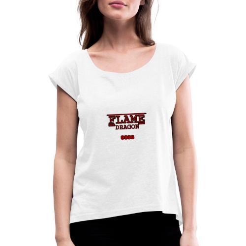 FlameDragon9998 st disigne - Frauen T-Shirt mit gerollten Ärmeln