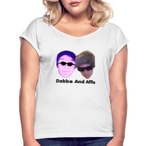 Dabbe And Affie Svart Text - T-shirt med upprullade ärmar dam
