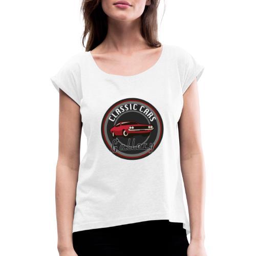 Classic Cars Gallery Logo Merchendise - Vrouwen T-shirt met opgerolde mouwen