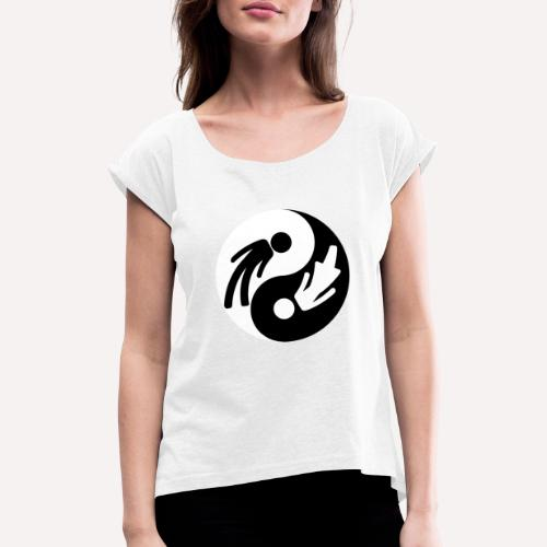 Yin Yang Man Woman - Women's T-Shirt with rolled up sleeves