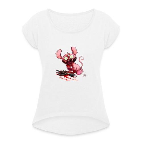 Hungry little Monster - Frauen T-Shirt mit gerollten Ärmeln