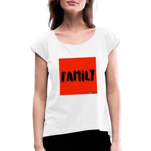 FAMILY - T-shirt med upprullade ärmar dam