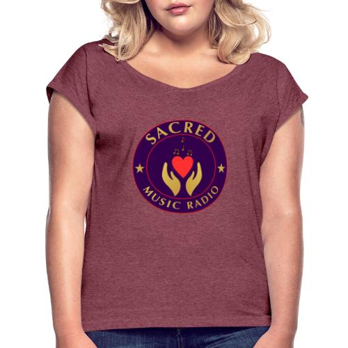 Spread Peace Through Music - Women's T-Shirt with rolled up sleeves