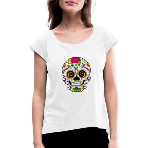 skull3 - Maglietta da donna con risvolti