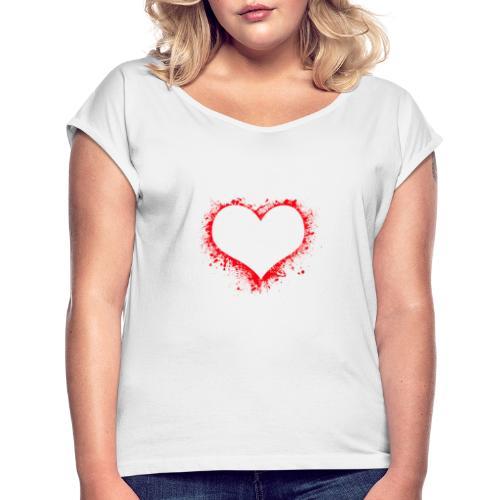 corazón pintura - Camiseta con manga enrollada mujer