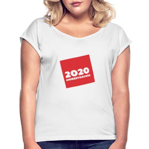 IORESTOACASA - Maglietta da donna con risvolti